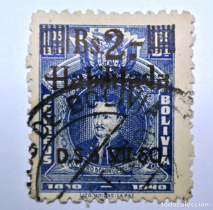 SELLO POSTAL BOLIVIA 1950, 2 BS, PEDRO DOMINGO MURILLO 1810-1940, USADO (Sellos - Extranjero - América - Bolivia)