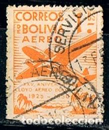 BOLIVIA 453, XXV ANIVERSARIO DEL LLOYD AÉREO BOLIVIANO, USADO (Sellos - Extranjero - América - Bolivia)