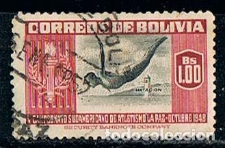 BOLIVIA 483, CAMPEONATO DEPORTIVO SUDAMERICANO EN LA PAZ, AÑO 1948, TRAMPOLIN, USADO (Sellos - Extranjero - América - Bolivia)