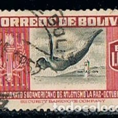 Sellos: BOLIVIA 483, CAMPEONATO DEPORTIVO SUDAMERICANO EN LA PAZ, AÑO 1948, TRAMPOLIN, USADO. Lote 173010717
