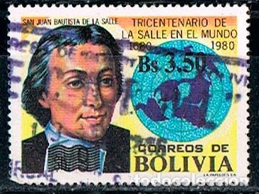 BOLIVIA 1058, CENTENARIO DE LAS ESCUELAS DE LA SALLE, USADO (Sellos - Extranjero - América - Bolivia)