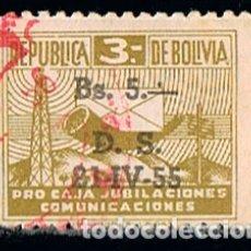 Sellos: BOLIVIA, VIÑETA PRO JUBILACIONES DE EMPLEADOS DE COMUNICACIONES, USADA. Lote 173011284