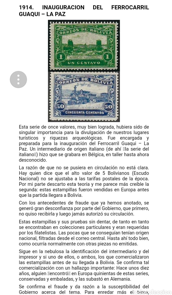 Sellos: BOLIVIA. 1914 INAUGURACIÓN FERROCARRIL QUAQUI- LA PAZ FALSIFICACIONES EN LITOGRAFÍA DE ÉPOCA. LEER - Foto 4 - 175816649