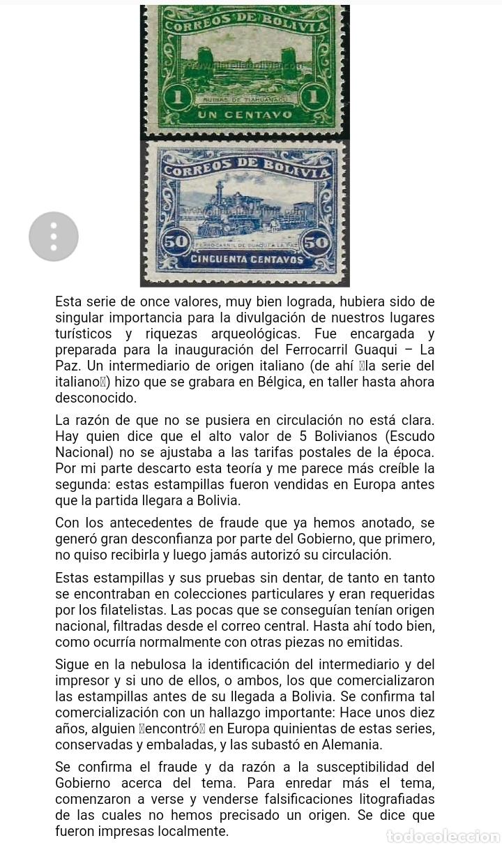 Sellos: BOLIVIA. 1914 INAUGURACIÓN FERROCARRIL QUAQUI- LA PAZ FALSIFICACIONES EN LITOGRAFÍA DE ÉPOCA. LEER - Foto 5 - 175816649