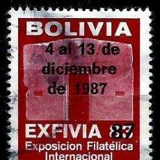 Sellos: BOLIVIA (VIÑETA) (EXFIVIA'87 EXP. FCA. LA PAZ) (SOBRECARGADO). Lote 178380630