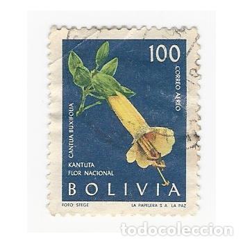 SELLO BOLIVIA FLOR NACIONAL KANTUTA CANTUA BUXIFOLIA 100 (Sellos - Extranjero - América - Bolivia)
