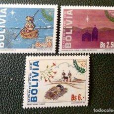 Sellos: BOLIVIA. 811/13 NAVIDAD: CANOA, IGLESIA CON ESTRELLAS, NIÑO SOBRE CAMA DE PAJA. 1992. SELLOS NUEVOS. Lote 210630142