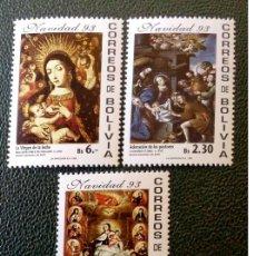 Sellos: BOLIVIA. 855A/855C NAVIDAD: CUADROS ADORACIÓN DE LOS PASTORES, VIRGEN CON NIÑO Y SANTOS, LA VIRGEN A. Lote 210630152