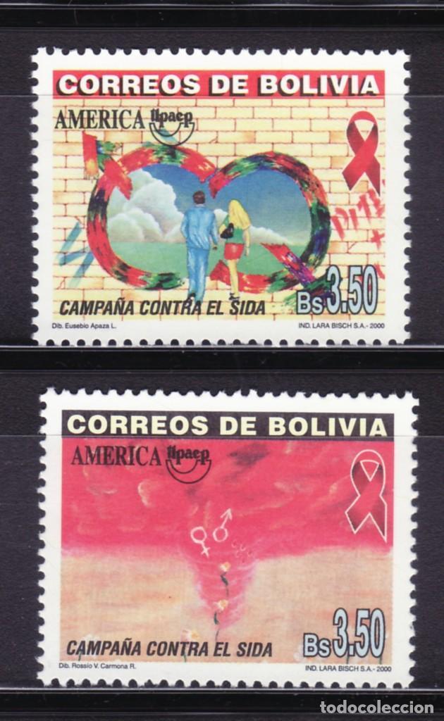 BOLIVIA 2000 TEMA AMERICA UPAEP CAMPAÑA CONTRA EL SIDA. 2V. (Sellos - Extranjero - América - Bolivia)