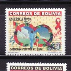 Sellos: BOLIVIA 2000 TEMA AMERICA UPAEP CAMPAÑA CONTRA EL SIDA. 2V.. Lote 217343851
