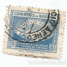 Sellos: SELLO USADO DE BOLIVIA DE 1947- CORREO AEREO- ANIVERSARIO REVOLUCION DE 1946- YVERT 92-VALOR 2,50 BS. Lote 226493420