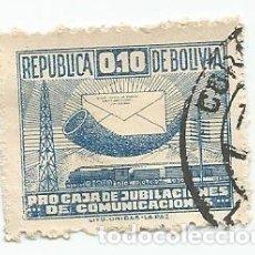 Sellos: 2 SELLOS USADOS DE 1945 DE BOLIVIA- IMPUESTO POSTAL YVERT 4- PROCAJA DE JUBILACIONES COMUNICACIONES. Lote 226495775