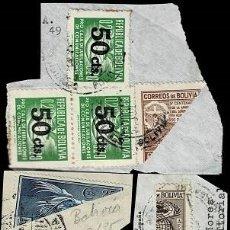 Sellos: 0256 BOLIVIA CONJUNTO DE SELLOS BISECTADOS SOBRE FRAGMENTO. Lote 249217575