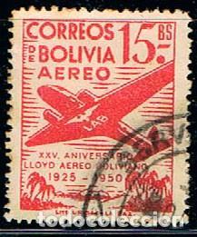 BOLIVIA Nº 455, XXV ANIVERSARIO DEL LLOYD AÉREO BOLIVIANO. AÉREOS., USADO (Sellos - Extranjero - América - Bolivia)