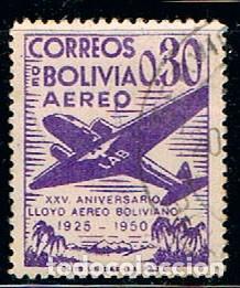 BOLIVIA Nº 451, XXV ANIVERSARIO DEL LLOYD AÉREO BOLIVIANO. AÉREOS., USADO (Sellos - Extranjero - América - Bolivia)