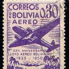 Sellos: BOLIVIA Nº 451, XXV ANIVERSARIO DEL LLOYD AÉREO BOLIVIANO. AÉREOS., USADO. Lote 254944070