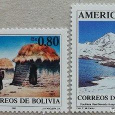 Sellos: 1990. BOLIVIA. 757 / 758. PUEBLO CHIPAYA, CORDILLERA HUAYNA POTOSI. SERIE COMPLETA. NUEVO.. Lote 276668188