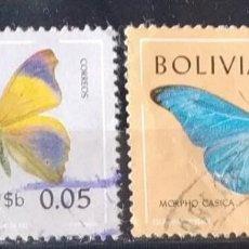 Sellos: LOTE 2 SELLOS BOLIVIA MARIPOSAS (MATASELLADOS). Lote 290405018