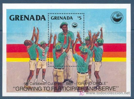 GRENADA, 4º CARIBBEAN CUBOREE, BOY SCOUT, HOJA BLOQUE, SELLOS NUEVOS *** (Sellos - Temáticas - Boy Scout)