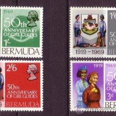 Sellos: BERMUDA 218/21*** - AÑO 1969 - 50º ANIVERSARIO DEL MOVIMIENTO SCOUT FEMENINO EN BERMUDAS. Lote 24485187