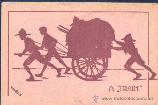 TARJETA CONMEMORATIVA HUNGARA DE LA REUNIÓN DE 1928 ILUSTRADA CON TEMA ALUSIVO (Sellos - Temáticas - Boy Scout)
