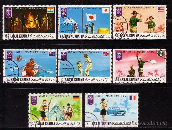 RAS AL KHAIMA 69 Y AEREO 76 - AÑO 1971 - JAMBOREE MUNDIAL SCOUT DE JAPON (Sellos - Temáticas - Boy Scout)