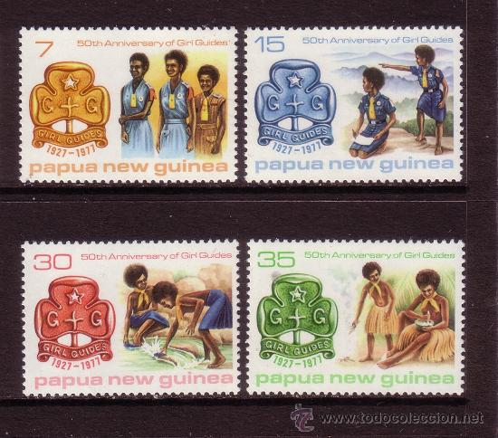 PAPUA 328/31*** - AÑO 1977 - 50º ANIVERSARIO DEL MOVIMIENTO SCOUT FEMENINO (Sellos - Temáticas - Boy Scout)