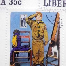 Sellos: CARTON CON 6 SELLOS, TEMATICA. BOY SCOUT, LIBERIA. Lote 37015472