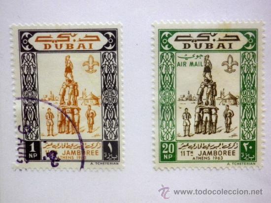 CARTON CON 4 SELLOS, TEMATICA. BOY SCOUT, DUBAI, EMIRATOS ARABES (Sellos - Temáticas - Boy Scout)