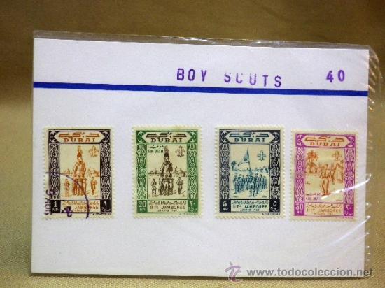 Sellos: CARTON CON 4 SELLOS, TEMATICA. BOY SCOUT, DUBAI, EMIRATOS ARABES - Foto 2 - 37015574