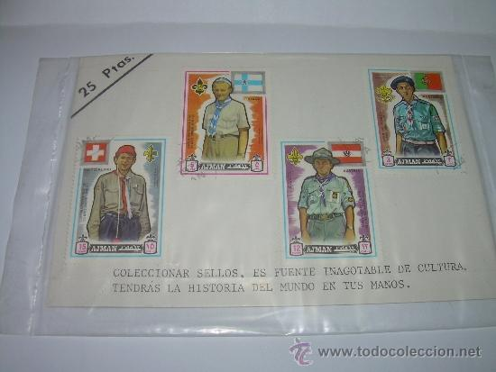 LOTE DE CUATRO SELLOS...AJMAN (Sellos - Temáticas - Boy Scout)