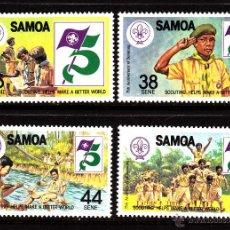 Sellos: SAMOA 509/12** - AÑO 1982 - 75º ANIVERSARIO DEL MOVIMIENTO SCOUT. Lote 40363348