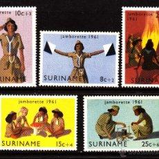 Sellos: SURINAM 358/62* - AÑO 1961 - JAMBOREE SCOUT FEMENINA DEL CARIBE. Lote 40422550