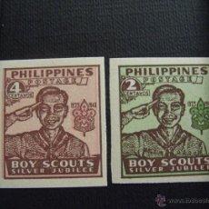 Sellos: FILIPINAS Nº YVERT 351B-352B*** AÑO 1949. 25 ANIVERSARIO DE SCOUTS. Lote 40432683