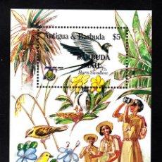 Sellos: BARBUDA HB 96** - AÑO 1986 - 75º ANIVERSARIO DEL MOVIMIENTO SCOUT FEMENINO. Lote 41429618