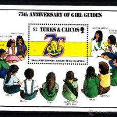 Sellos: TURKS & CAICOS HB 65** - AÑO 1985 - 75º ANIVERSARIO DEL MOVIMIENTO SCOUT FEMENINO. Lote 41927096
