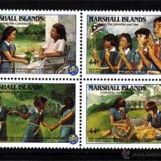 Sellos: MARSHALL 132/35** - AÑO 1986 - 20º ANIVERSARIO DEL MOVIMIENTO SCOUT FEMENINO EN LAS MARSHALL. Lote 42235057