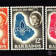 Sellos: BARBADOS 232/34* - AÑO 1962 - 50º ANIVERSARIO DEL MOVIMIENTO SCOUT LOCAL. Lote 42257827