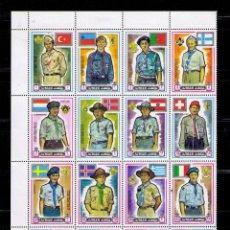 Sellos: AJMAN1971 - BOY SCOUTS - BLOQUE DE 16 SELLOS - YVERT Nº 124. Lote 42268989