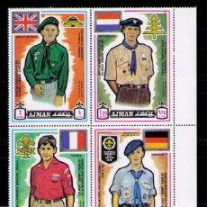 Sellos: AJMAN 1971 - BOY SCOUTS - BLOQUE DE E SELLOS - YVERT Nº 94 A. Lote 42269012