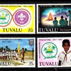 Sellos: TUVALU 177/80** - AÑO 1982 - 75º ANIVERSARIO DEL MOVIMIENTO SCOUT. Lote 43902629
