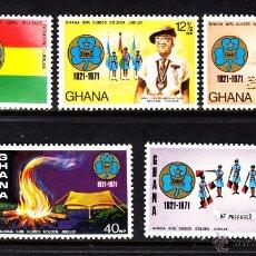 Sellos: GHANA 409/13** - AÑO 1971 - 50º ANIVERSARIO DEL MOVIMIENTO SCOUT FEMENINO EN GHANA. Lote 46551514