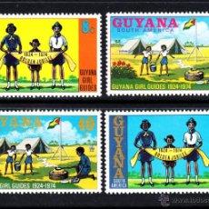 Sellos: GUYANA 445/48** - AÑO 1974 - 50º ANIVERSARIO DEL MOVIMIENTO SCOUT FEMENINO DE GUYANA. Lote 48895113