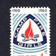 Sellos: ESTADOS UNIDOS 704** AÑO 1960 - SCOUT - 50º ANIV. DE LA ASOCIACION JUVENIL FEMENINA FUEGO DE CAMPO . Lote 127169799