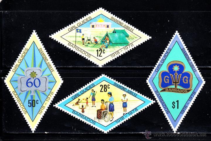 BARBADOS 456/59** - AÑO 1978 - 60º ANIVERSARIO DEL MOVIMIENTO SCOUT FEMENINO EN BARBADOS (Sellos - Temáticas - Boy Scout)