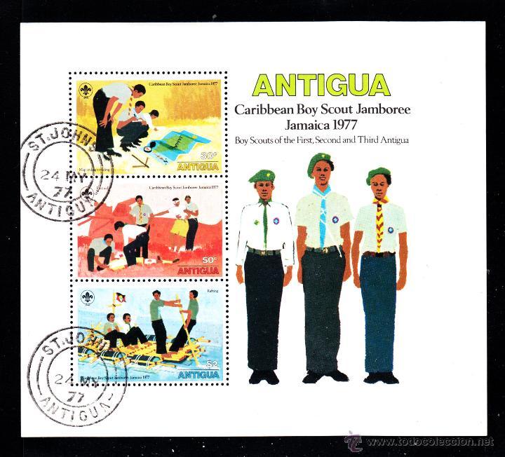 ANTIGUA HB 29 - AÑO 1977 - JAMBOREE SCOUT DEL CARIBE, JAMAICA (Sellos - Temáticas - Boy Scout)