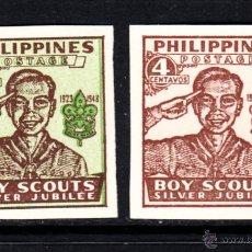 Sellos: FILIPINAS 351B/52B** - AÑO 1949 - 25º ANIVERSARIO DEL MOVIMIENTO SCOUT. Lote 211838690