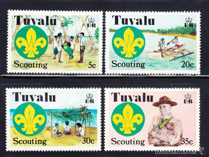 TUVALU 51/54** - AÑO 1977 - SCOUT - 50º ANIVERSARIO DEL MOVIMIENTO SCOUT DEL PACÍFICO CENTRAL (Sellos - Temáticas - Boy Scout)