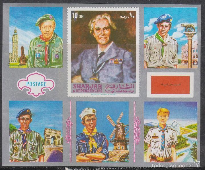 SHARJAH, EMIRATOS ARABES, JAMBOREE 1971 EN JAPON, NUEVO *** EN HOJA BLOQUE (Sellos - Temáticas - Boy Scout)