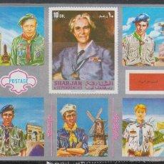Stamps - Sharjah, Boy Scout, jamboree 1971 en Japon, nuevo *** en hoja bloque - 156831009